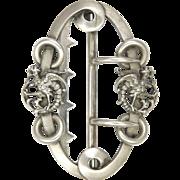 French Art Nouveau Silver Griffins Buckle