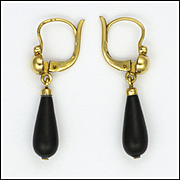 French Antique Gold Filled 'ORIA' and Jet Drop Earrings
