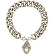French Antique Silver Curb Bracelet with Snake Pattern and Ball Charm