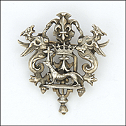 French Antique Silver Crown and Ermine Symbolic Pin
