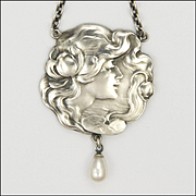 German Art Nouveau 935 Silver and Pearls Lady Necklace