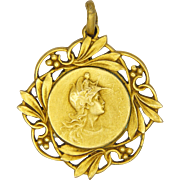 French Art Nouveau Marianne and Laurels Pendant - F RASUMNY