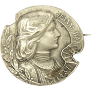 French Antique Silver Joan of Arc Pin