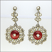 Victorian Sterling Silver Enamel and Pastes Drop Earrings - Screw Backs