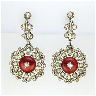 Victorian Sterling Silver Enamel and Pastes Drop Earrings - Screw Backs