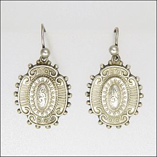 Victorian Sterling Silver Earrings - Hooks