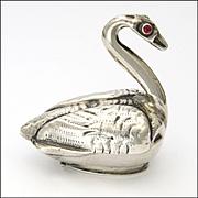 Victorian 1891 Sterling Silver Swan Box - Edward Thompson Bryant -Dutch Import