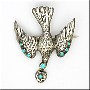 Victorian Engraved Silver and Turquoise Bird and Heart Pin