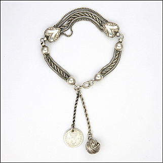 Victorian Sterling Silver Albertina Bracelet with Ball Charm and Coin