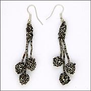 Victorian Cut Steel Reconfigured Drop Earrings - Sterling Hooks