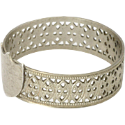 Victorian Silver Pierced Ring with Shield