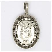 Victorian Silver Assyrian Mythical Man Locket