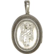 Victorian Silver Assyrian Mythical Man Locket
