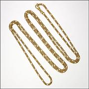 "Victorian Pinchbeck Decorative Guard Chain - 55"""