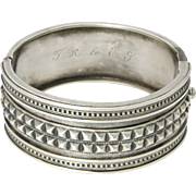 Victorian Sterling Silver Heavily Incised Bangle