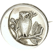 Victorian Sterling Silver Owl and Crescent Moon Pin