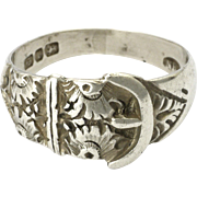Victorian 1897 Sterling Silver Engraved Daisy Buckle Ring