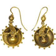 Victorian 1875 Gold Metal Engraved Bird Earrings -Hooks