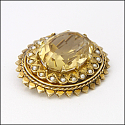 English 1968 9K Gold Citrine and Seed Pearls Pin