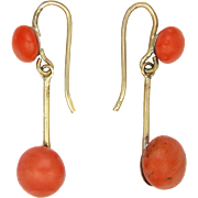 Victorian 10K Gold and Coral Drop Earrings