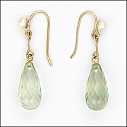Faceted Green Amethyst and Cultured Pearl on 9K Gold Drop Earrings