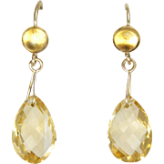9K Gold and Citrine Drop Earrings