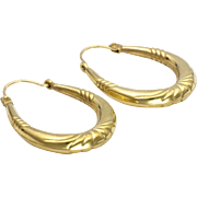 9k Gold Hoop Earrings - Pierced Ears