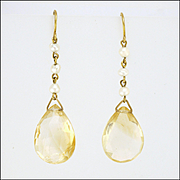 9k Gold with Pearls and Citrine Drop Earrings