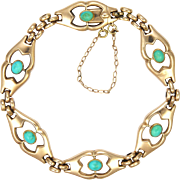 Arts and Crafts 10k Rose Gold and Turquoise Bracelet