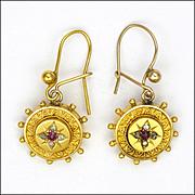 Victorian Circa 1880 14K Earrings with Diamonds and Rubies - Hooks