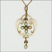 English Art Nouveau 9K Gold and Opal Necklace