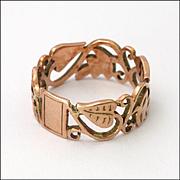 Victorian 9K Rose Gold Pierced Ring