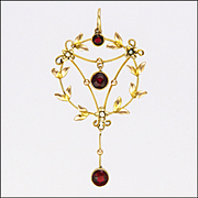 English Art Nouveau 9K Gold and Garnet Pendant