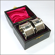 English 1925  Sterling Silver  2 X Napkin Rings in Original Box