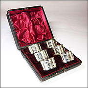 Victorian 6 x Silver Plated Engraved Buckle Numbered Napkin Rings - Boxed