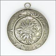 Swiss Art Nouveau 800 Silver Crysanthemum Box Pendant - HUGUENIN
