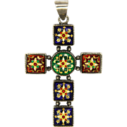 French Bressans Silver Richly Decorated Enamel Cross Pendant