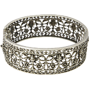 French Antique Pierced Silver Bangle/Bracelet