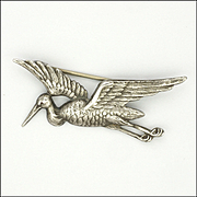 French Circa 1910 Silver Stork in Flight Pin