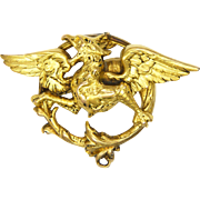 French Art Nouveau 18K Gold Filled Griffin Pin - FIX