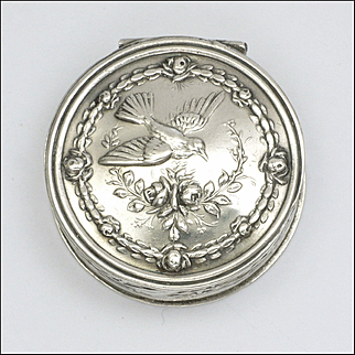 French Antique Silver Small Pill Box with Bird and Roses