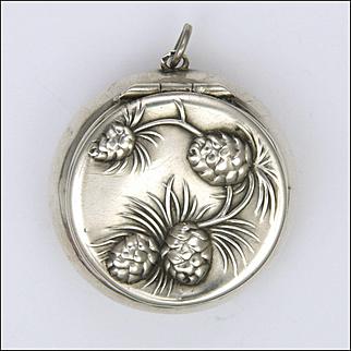 Art Nouveau 800 Silver German Pine Cones Box Pendant