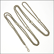 "French Antique Woven Silver and Balls Guard Chain - 52"" - 23.1 grams"