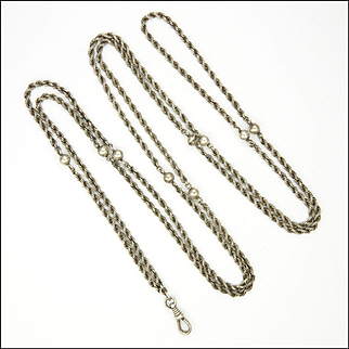 """French Antique Woven Silver and Balls Guard Chain - 52"""" - 23.1 grams"""