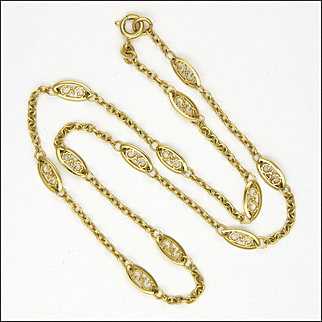 French Early 20th Century 18K Gold Filled Necklace - 17½ inches