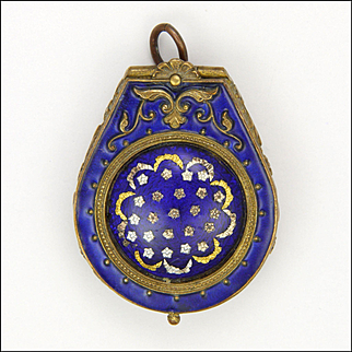 French Victorian Enamel on Brass Compact Pill Box Pendant