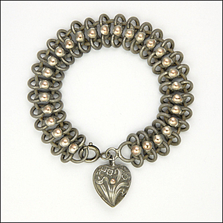 French Art Nouveau Silver and Rose Gold with Heart Charm Bracelet