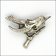 French Art Deco Silver Sparrow on Branch by FLAM