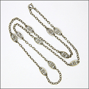 """French Antique Silver Chain Necklace - 23½"""""""