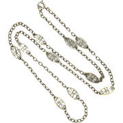 French Antique Silver Chain Necklace - 23½""